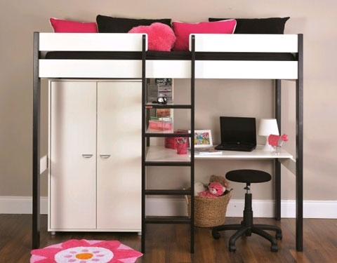 Most Recently Released High Sleeper Bed With Wardrobes With 7 High Sleeper Nero With Desk + Wardrobe 1 White (View 11 of 15)