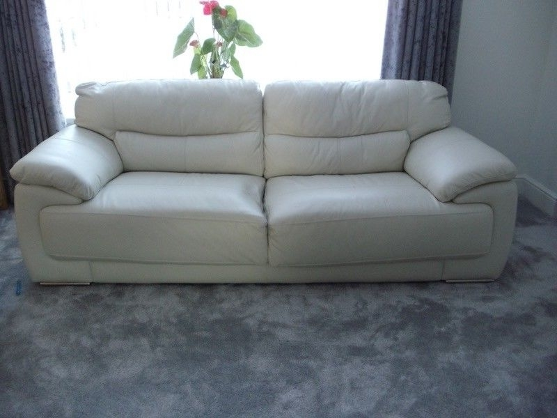 Most Recently Released Off White Leather Sofas Within Enchanting Off White Leather Sofa With Modern Throughout (View 6 of 10)