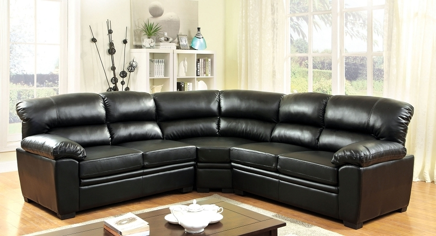 Most Recently Released Oliver Modern Black Leatherette Sofa Sectional Within 102X102 Sectional Sofas (View 9 of 10)
