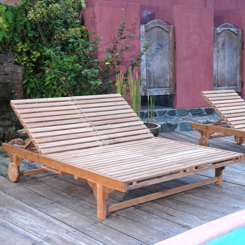 Most Recently Released Outdoor Double Chaise Lounges In Anderson Teak Bel Air Double Chaise Lounge & Reviews (View 7 of 15)