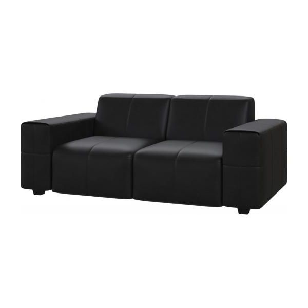 Most Recently Released Posada – 2 Seater Sofa In Pullman Aniline Leather, Soft Black Regarding Black 2 Seater Sofas (View 9 of 10)