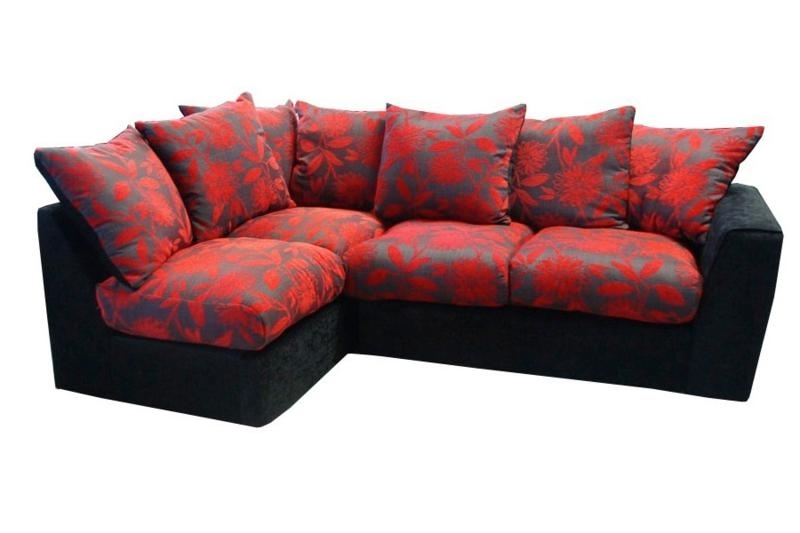 Most Recently Released Samantha Black And Red Right Hand Corner Sofa £389, Beds Direct In Red And Black Sofas (View 6 of 10)
