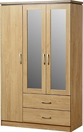 Most Recently Released Seconique Charles 3 Door 2 Drawer Mirrored Wardrobe – Oak Effect Intended For Oak 3 Door Wardrobes (View 6 of 15)