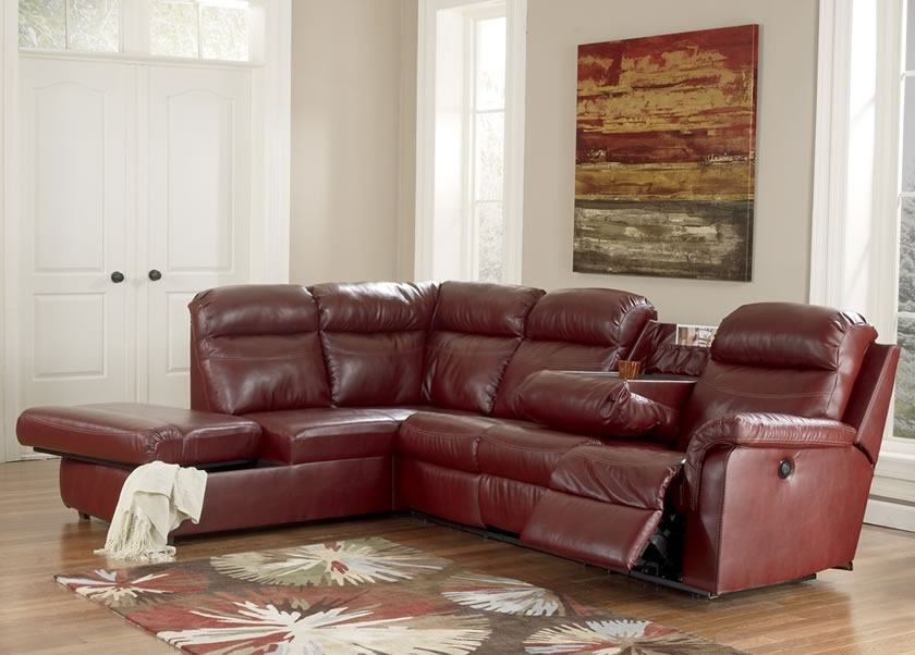 Most Recently Released Small Red Leather Sectional Sofas In Cool Red Leather Sectional Sofa With Recliners Centerfieldbar (View 4 of 10)