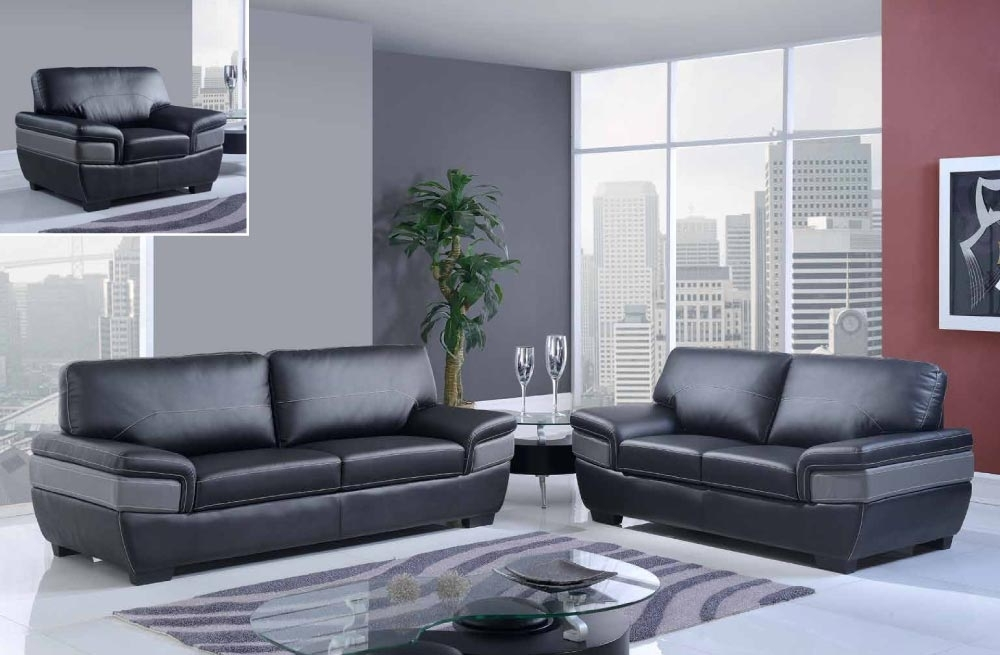 Most Recently Released Trendy Black And Dark Grey Contemporary Bonded Leather Sofa Set Within Philadelphia Sectional Sofas (Gallery 1 of 10)