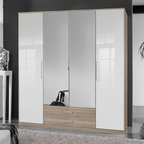 Most Up To Date 4 Door Wardrobe In Oak With Mirrors And Drawers For 4 Door Wardrobes With Mirror And Drawers (View 7 of 15)