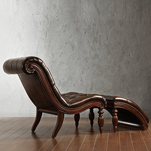 Most Up To Date Amazon: Brown Leather Chaise Lounge Chair With Ottoman With Leather Chaise Lounge Chairs (View 9 of 15)