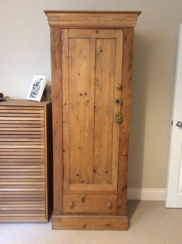 Most Up To Date Antique Pine Single Wardrobe (View 7 of 15)