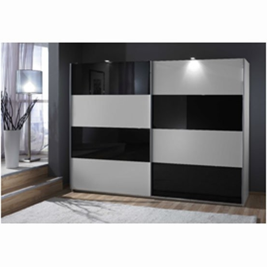 Most Up To Date Black Glass Wardrobes Pertaining To Easy Plus Sliding Wardrobe In White And Black Glass  (View 9 of 15)