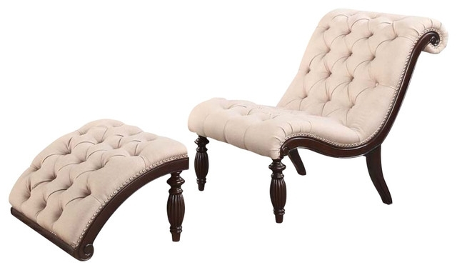 Most Up To Date Chaise Lounge Chairs With Ottoman Inside Amazing Upholstered Tufted Accent Lounge Chair Ottoman Set With (View 11 of 15)