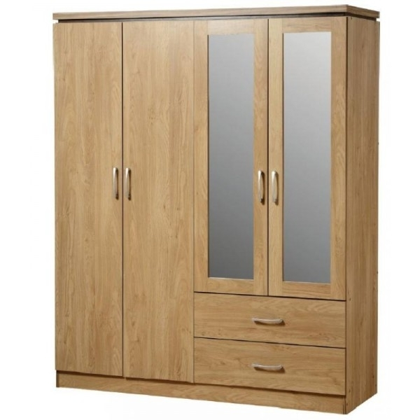 Most Up To Date Cheap Seconique Charles Oak 4 Door 2 Drawer Wardrobe For Sale Regarding Cheap Wardrobes (View 13 of 15)