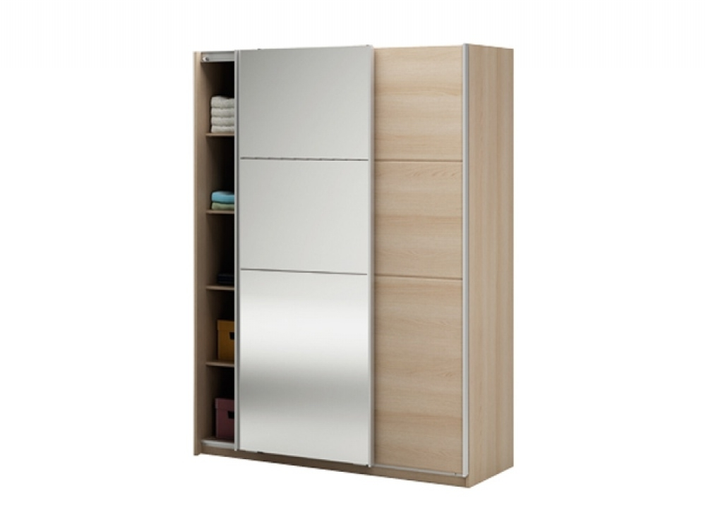 Most Up To Date Cheap Wardrobes With Mirror Within Manhattan Oak Sliding Mirrored Wardrobe (View 4 of 15)