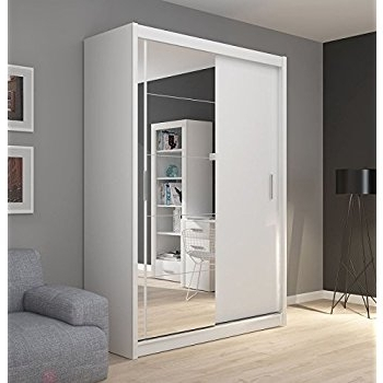 Most Up To Date Fado White Mirrored 2 Door Wardrobe Closet With Sliding Doors Pertaining To White Mirrored Wardrobes (View 6 of 15)