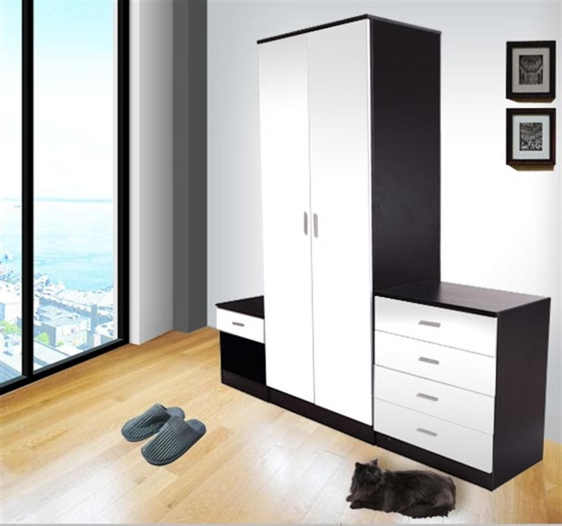 Most Up To Date Homcom High Gloss 3 Pcs Bedroom Wardrobe Set Black/white (View 4 of 15)