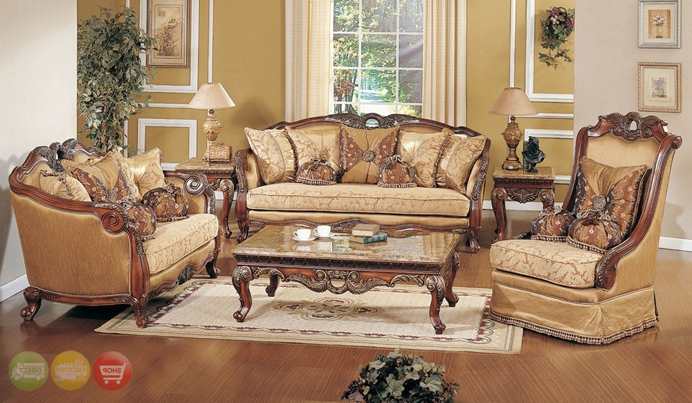 Most Up To Date Living Room Sofa And Chair Sets Regarding Exposed Wood Luxury Traditional Sofa & Loveseat Formal Living Room (View 8 of 10)