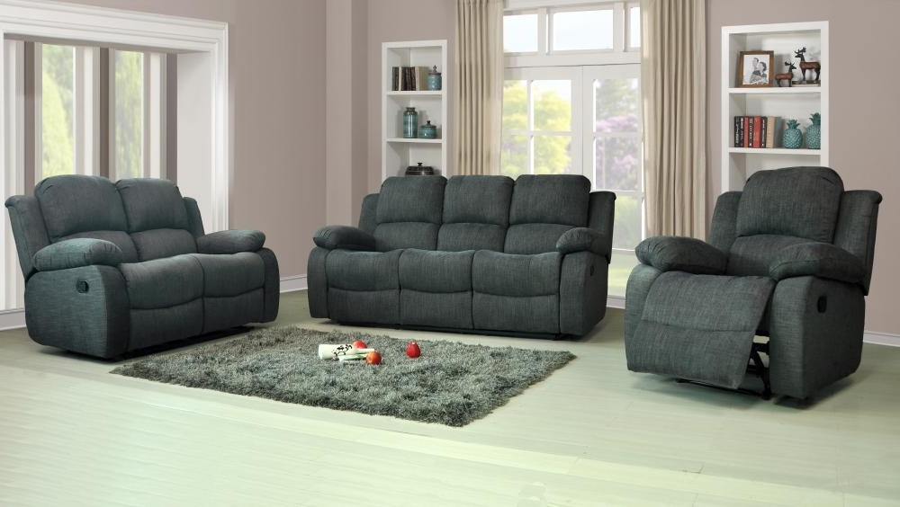 Most Up To Date Recliner Sofas With Regard To Recliner Sofas Fabric 3+2+1 Charcoal Or Light Grey 3 Piece Suite (View 5 of 10)