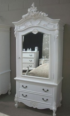 Most Up To Date Single French Wardrobes Throughout Fw5000 03 Single Door Mirrored Armoire With Two Drawers – The (View 5 of 15)