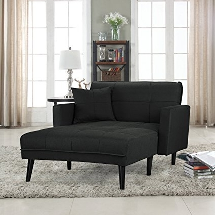 Most Up To Date Sleeper Chaise Lounges With Amazon: Modern Linen Fabric Recliner Sleeper Chaise Lounge (View 11 of 15)