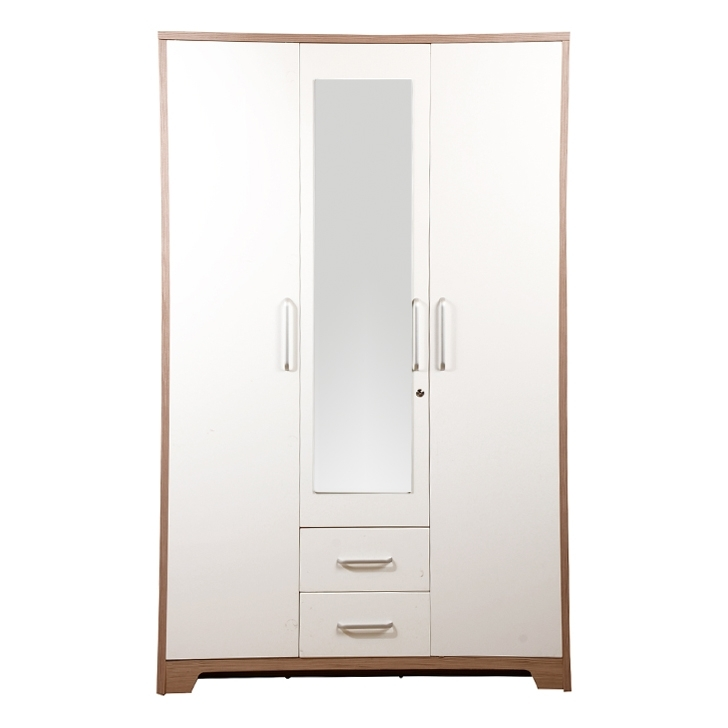 Most Up To Date White 3 Door Wardrobes Within Buy Ambra Three Door Wardrobe With Mirror In White Finish Online (View 8 of 15)