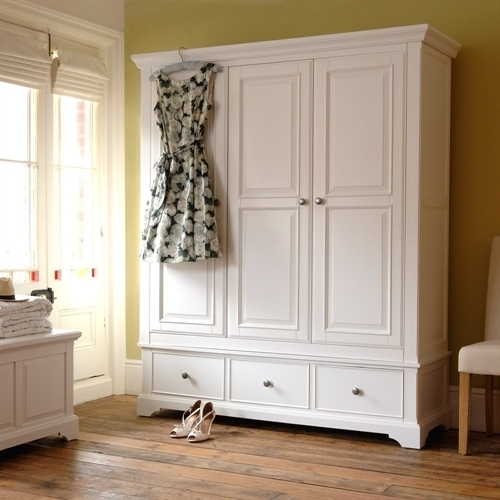 Most Up To Date White Wood Wardrobes With Drawers Inside Ascot White Triple Wardrobe (View 6 of 15)