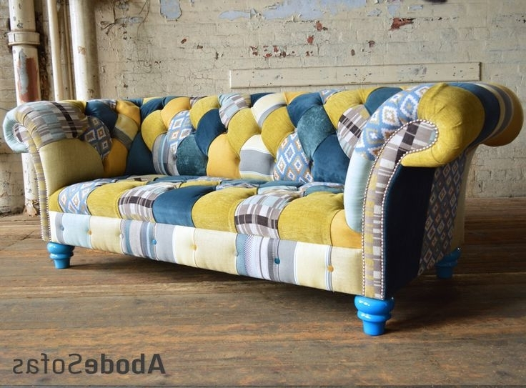 Most Up To Date Yellow Chintz Sofas With Regard To 37 Best Patchwork Chesterfield Sofa & Chairs Images On Pinterest (View 7 of 10)