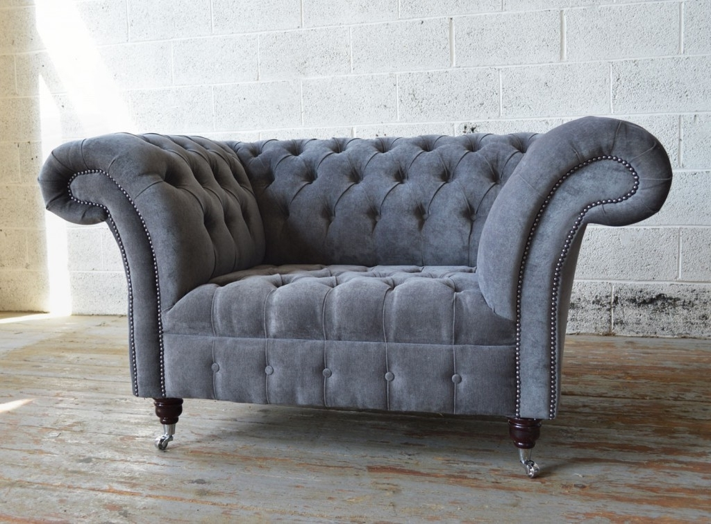 Naples Slate Grey Chesterfield Snuggle Chair (View 7 of 10)