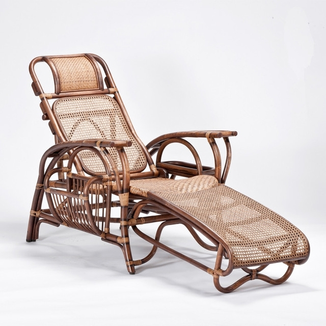 Natural Rattan Handmade Sun Chaise Lounge Rattan Wicker Furniture In Most Up To Date Chaise Lounge Sun Chairs (View 10 of 15)