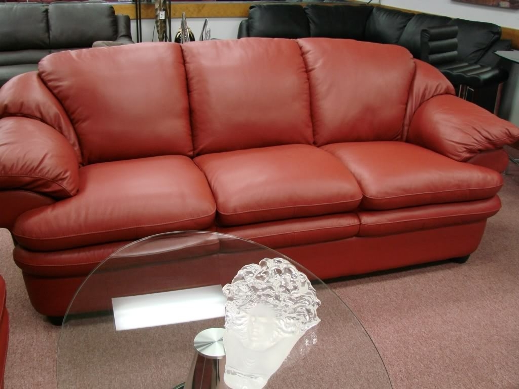 Natuzzi Red Leather Sofa – Home And Textiles Regarding Trendy The Brick Leather Sofas (View 5 of 10)