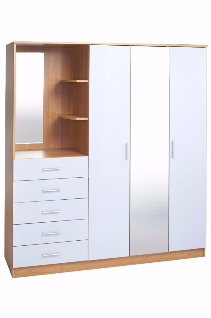 New 3 Door Wardrobe With Mirror Combi Unit Drawers And Dressing Throughout 2017 3 Door Wardrobes With Drawers And Shelves (View 13 of 15)