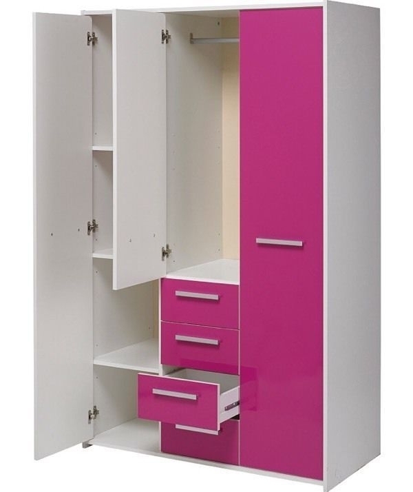 New Sywell 3 Door 4 Drawer Wardrobe – White And Pink High Gloss Throughout Favorite Pink High Gloss Wardrobes (View 7 of 15)