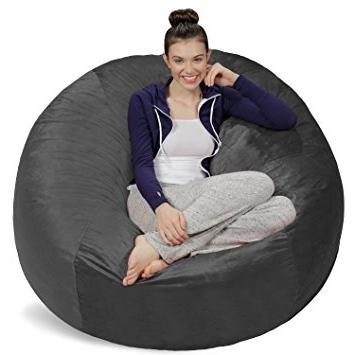 Newest Bean Bag Sofas Regarding Amazon: Sofa Sack – Bean Bags Bean Bag Chair, 5 Feet, Charcoal (View 7 of 10)
