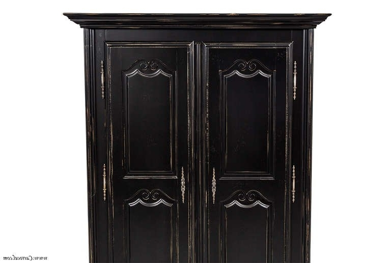 Newest Black French Style Wardrobes Throughout High Quality French Black Distressed Armoire Wardrobe Cabinet Made (View 10 of 15)