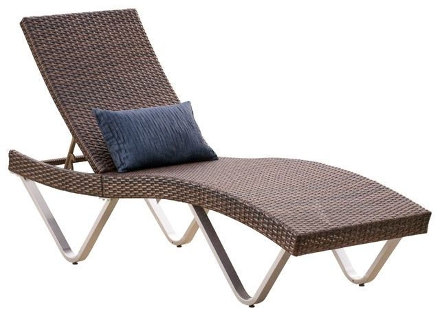 Newest Brown Outdoor Chaise Lounge Chairs Within Manuela Outdoor Wicker Chaise Brown Tropical Outdoor Chaise For (View 10 of 15)