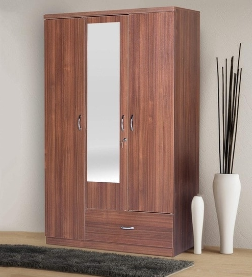 Newest Buy Ultima Three Door Wardrobe With Mirror In Walnut Colour With Three Door Wardrobes With Mirror (View 7 of 15)