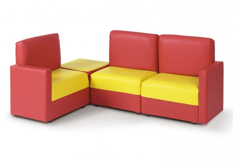 Newest Children's Corner Modular Wipe Clean Sofa In Red & Yellow With Childrens Sofas (View 5 of 10)