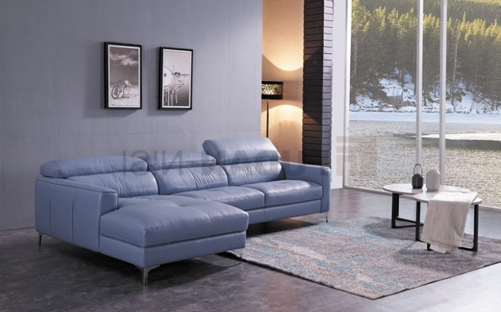 Newest China Niagara Blue Leather Sectional Sofa With Duck Feather Inside Niagara Sectional Sofas (Gallery 6 of 10)
