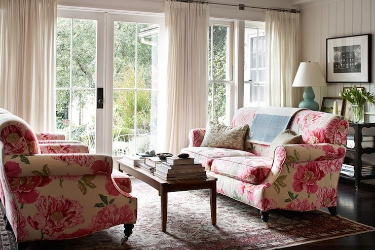 Newest Chintz Floral Sofas Throughout Kristen Panitch Interiors – Living Rooms – Sofas Facing Each Other (Gallery 4 of 10)