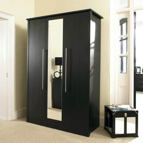Newest Closet ~ Mirrored Wardrobe Closet Furniture Large Black Glass For Large Black Wardrobes (View 7 of 15)