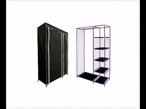 Newest Designer Habitat Double Canvas Effect Wardrobe Clothes Rail Throughout Double Canvas Wardrobes Rail Clothes Storage Cupboard (View 8 of 15)