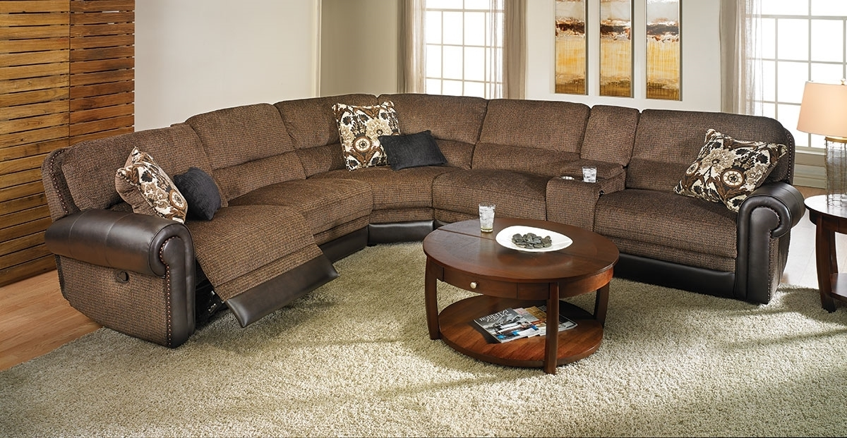 Newest Dual Power Reclining Tweed Storage Sectional (View 8 of 10)