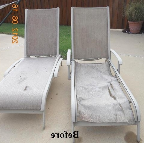 Newest Fabric Outdoor Chaise Lounge Chairs With Regard To Agio Chaise Replacement Slings Using Our Chesterfield Fabric In Texas (View 9 of 15)