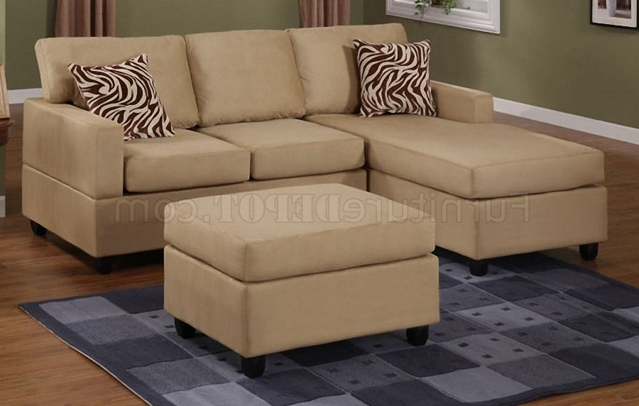 Newest Hazelnut Plush Microfiber Casual Small Sectional Sofa W/ottoman Inside 2 Seat Sectional Sofas (Gallery 3 of 10)