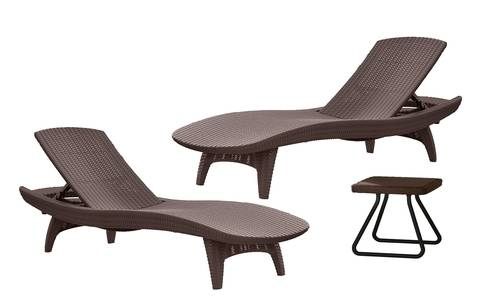 Newest Keter Pacific Chaise Sun Lounger And Side Table Set, Brown In Keter Chaise Lounge Chairs (View 14 of 15)