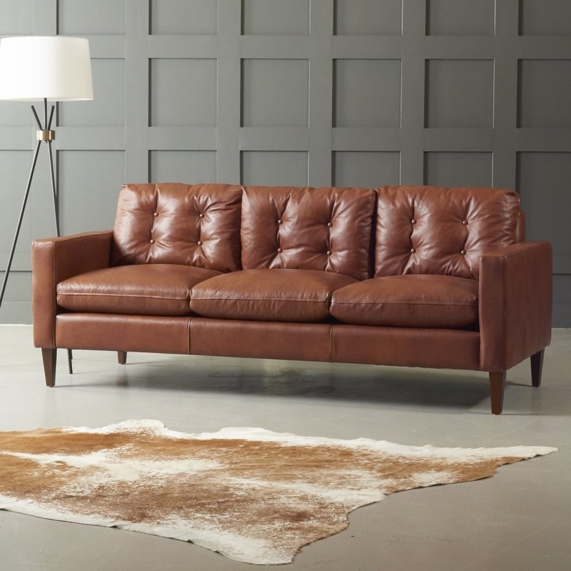 Newest Miraculous Brown Leather Couch In Dwellstudio Sofa Reviews Wayfair Intended For Aspen Leather Sofas (View 6 of 10)