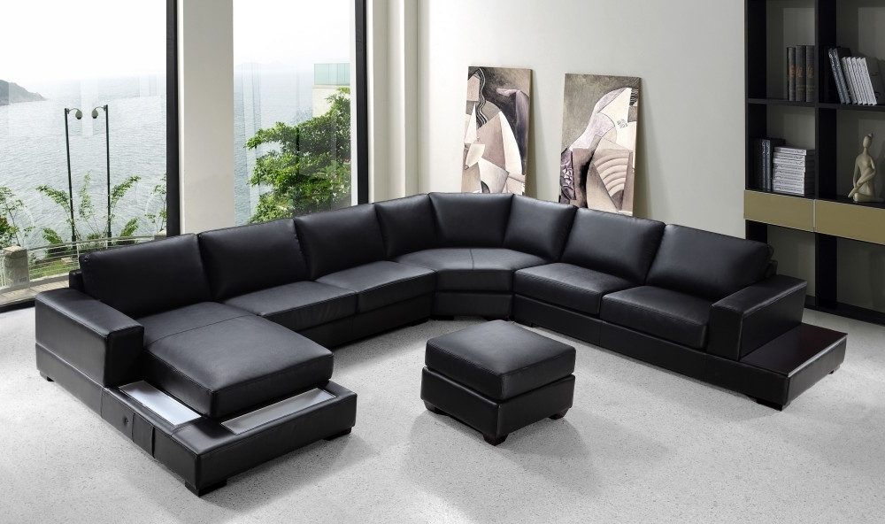 "Newest Modern Black Leather ""u"" Shaped Sectional Within Modern U Shaped Sectional Sofas (Gallery 1 of 10)"