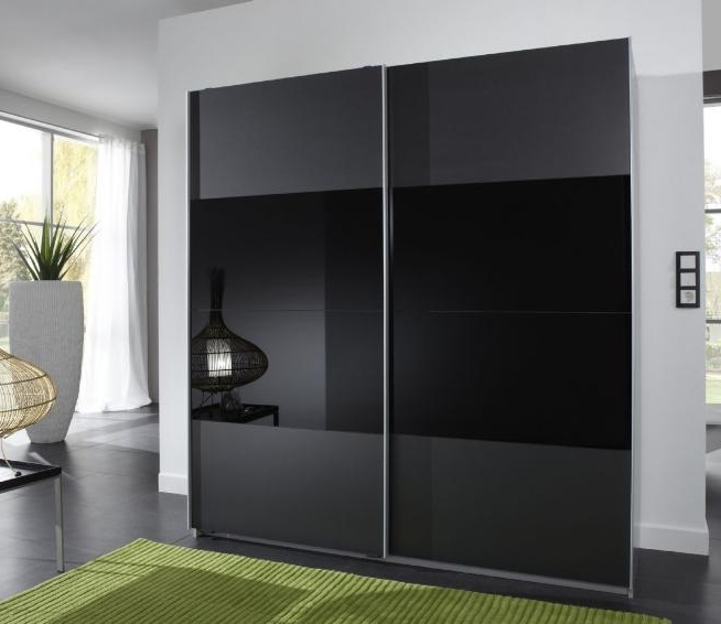 Newest Munich 2 Door Sliding Wardrobe Charcoal Black And Black Glass With Regard To Black Glass Wardrobes (View 10 of 15)