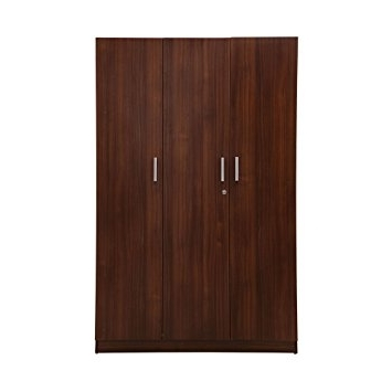 Newest Nilkamal Reegan 3 Door Wardrobe With Mirror (Brown): Amazon (View 8 of 15)