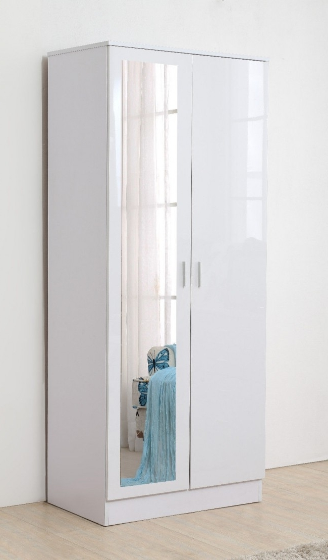 Newest Ossotto Mirrored High Gloss White On White Wardrobe Inside White High Gloss Wardrobes (View 7 of 15)