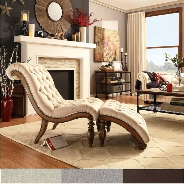 Newest Overstock Chaise Lounges Intended For Bellagio Classic Tufted Chaise Lounge With Ottomaninspire Q (View 9 of 15)