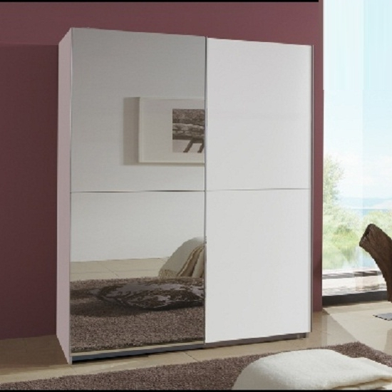 Newest Quest White Robe 2 Door Sliding Wardrobe With 1 Mirrored Inside Single White Wardrobes With Mirror (View 12 of 15)